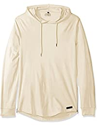 WT02 Men's Long Sleeve Scallop Basic Hooded Tee with Side Zippers