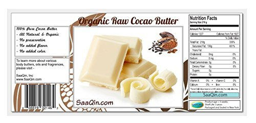 1/2 Lb Organic Cocoa Butter, Pure, Raw, Unprocessed. Incredible Quality and Scent. Use for Lotion, Cream, Lip Balm, Oil, Stick, or Body Butter. Non-GMO By SaaQin