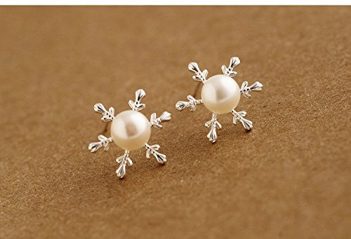 1 pair Pearl Jewelry Real 925 Sterling Silver Flower Stud Earring for Women by TO_GeT For Beauty&Health Accessories TgT