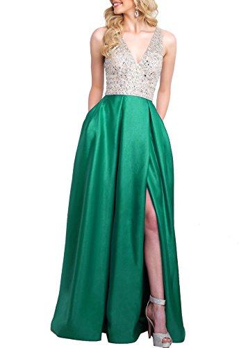 Robe De Soirée De Retour À La Maison De Bal Perles Brillant V Profond Des Femmes Robes Longues S064 Vert
