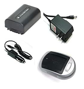 Batterie et Chargeur - Compatible Accessory Kit High Capacity Rechargeable Lithium ion Battery and AC/DC Battery Charger ( Power plug & Car ) for / fits digital camera/camcorder model/parts no FUJI FUJIFILM FinePix F50fd F80EXR