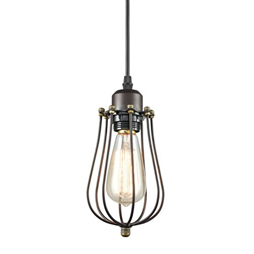 CLAXY Ecopower Vintage Style Industrial Oil Rubbed Bronze Hanging Light Mini Pendant Wire Cage - Pendant Bronze Rubbed Lamps Oil