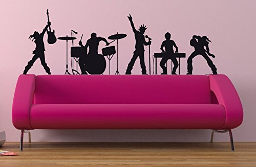 Rock'n'roll Decal Rock'n'roll Sticker R'n'r Guitar Decal Band Rock Music Let's Rock Heavy Metal Band Wall Art Stickers Tr272 ()