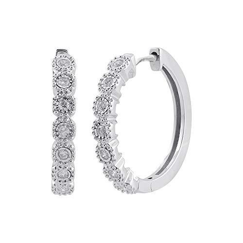 10K White Gold Antique Finish Natural Diamond Hoop Earrings (I1-I2 Clarity, 1/4 Carat) - IGI Certified