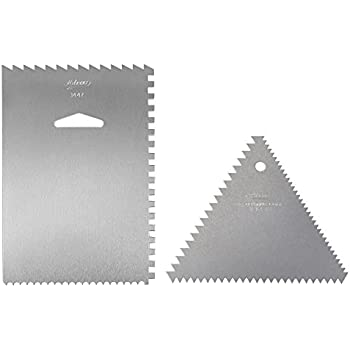 Ateco 1446 - 3 Sided Decorating Comb and 1447- 4 Sided Decorating Comb & Icing Smoother, 2 Pc Set