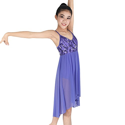 MiDee Girls Camisole Sequin High-low skirt Lyrical Dance Dress Costume (LC, Purple) (Dance Costumes For Competition Lyrical)