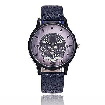 Relojes Hermosos, Hombre Mujer Reloj creativo único Reloj Casual Chino Cuarzo Calavera PU Banda Vintage Cool Halloween Negro Azul Marrón (Color : Café) : ...