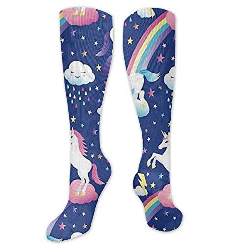(Yitlon8 Unicorn Rainbows Compression Socks for Women & Men - Best for Running, Athletic Sports, Crossfit, Flight Travel -Maternity Pregnancy, Shin Splints - Below Knee High)