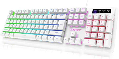 NPET K10 Gaming Keyboard USB Wired Floating Keyboard, Quiet Ergonomic Water-Resistant Mechanical Feeling Keyboard, Ultra-Slim Rainbow LED Backlit Keyboard for Desktop, Computer, PC, White