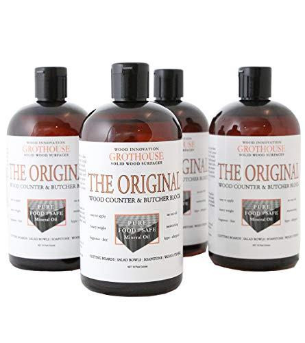 Grothouse Original Oil | Butcher Block Oil | Wood Countertop | Cutting Board Oil | 4 Bottles