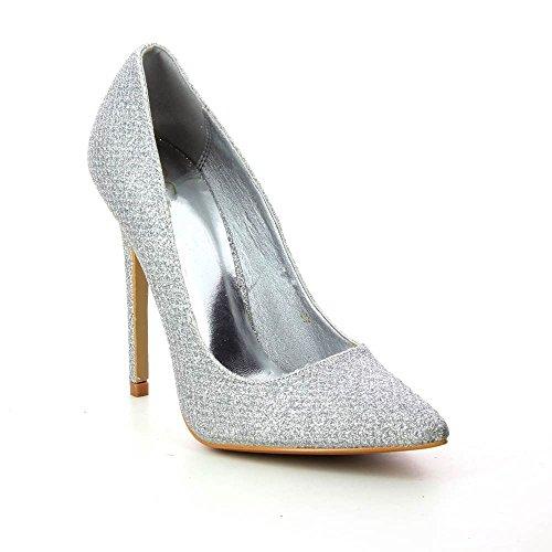 Zapatos Tacón de aguja purpurina una punta de pointu - tacón 11 cm Plateado