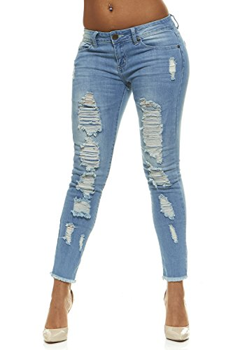 (Ripped Jeans for Women Distressed Skinny Jeans for Women with Lift Band Junior Size 15 Classic Blue Wash)