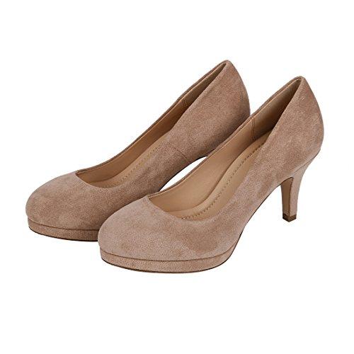 Womens Classic Suede Pumps Fashion Elegant Slip On Round Toe High Heels Wedding Party Basic Shoes Beige ZedyiW