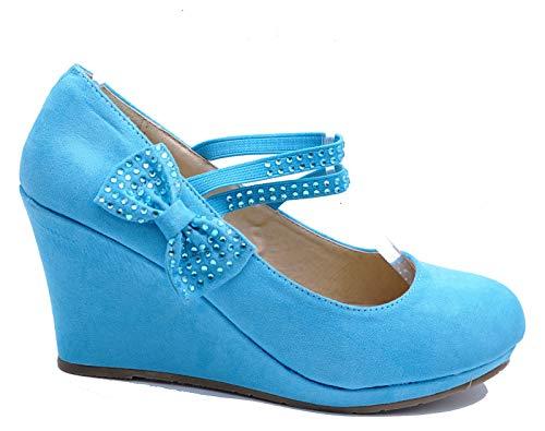 Wedges Slip Sizes Cute Platform On Court Shoes Pumps HeelzSoHigh Ladies 3 Diamante 7 Blue PwEE6X