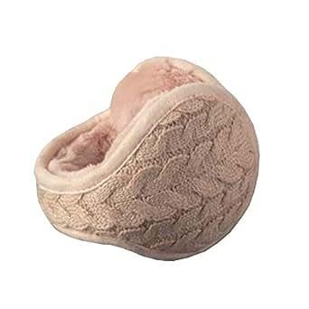 Chinashow Unisex Winter Warm Rear Wear Knitted Folding Earmuffs Ear Warmers,Pink
