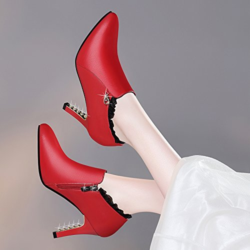 Donna Pointed Coreane Impermeabile All Rosso Fall Shoes Una Heels match Khskx Pelle Con Scarpe Bella Deep high 4zqxgvwf