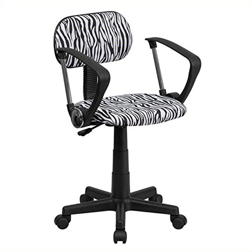 Flash Furniture Black and White Zebra Print Swivel Task Chair with Arms (Zebra Black And Chair White)