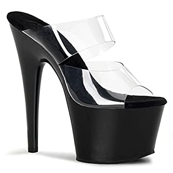 YMFIE Mesdames haut talon sandales pantoufles fashion sexy talons mariage banquet parti tempérament,36 EU,transparent