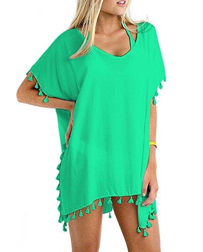 GDKEY Women Chiffon Tassel Swimsuit Bikini Stylish Beach Cover up (Size A, Light Turquoise)
