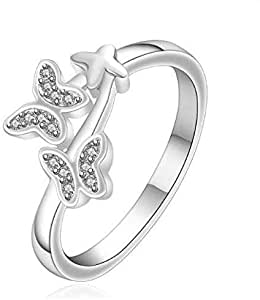 Silver-plated Ring, Silver Fashion Jewelry,Women Gift Crystal Butterfly Star Silver Finger Rings