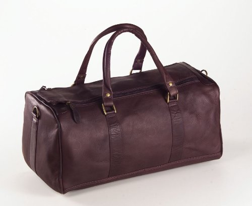 (Clava Barrel Leather Duffel Bag Carry On in Cafe Brown)