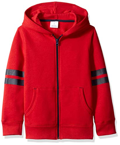 (Amazon Essentials Little Boys' Fleece Zip-up Hoodie, Red Varsity Sleeve, S)