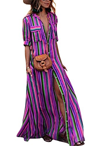 Yanekop Womens Rainbow Loose Button Down Stripes Half Sleeve Maxi Dress with Pockets(Purple,L)
