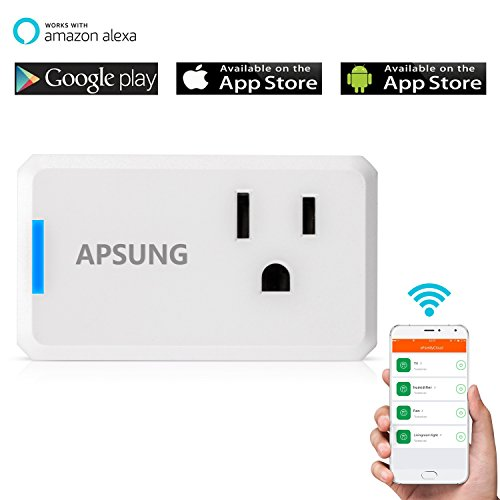 Apsung Smart Plug Compatible with Alexa, Wi-Fi Wireless Power Socket Smart Outlet for Amazon Echo, Dot, Google Home Assistant, No Hub Required, App Remote Control - Compact Size Rectangle Style