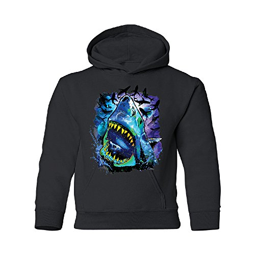 Zexpa Apparel Neon Black Light Cosmo Shark Youth Hoodie Ocean Nebula Sharks Sweatshirt Black Youth Medium by Zexpa Apparel