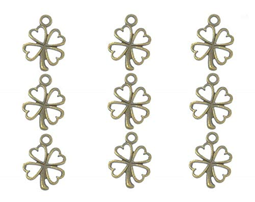 - 100pcs Four Leaf Clover Lucky Charms Pendents for DIY Crafting Bracelet Necklace Jewelry Making Accessories(Antique Bronze)