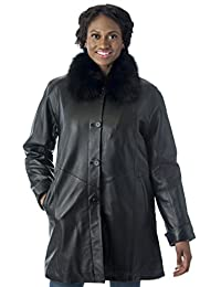 Reed Women's Imported Lamb Leather Swing Coat with Real Fox Fur Collar