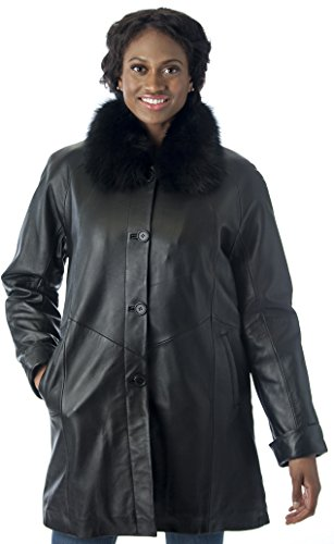 REED Women's Imported Lamb Leather Swing Coat with Real Fox Fur Collar (3X, Black)