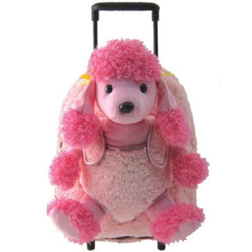 (Kreative Kids Pink Poodle Rolling Backpack w/Removable Stuffed Toy & Wheels)