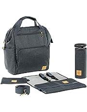 LÄSSIG 1103010222 Glam Goldie Backpack, Baby Luierrugzak/Luiertas, Inclusief Wikkelaccessoires, Antraciet, 30 x 16.99 x 35.99 cm