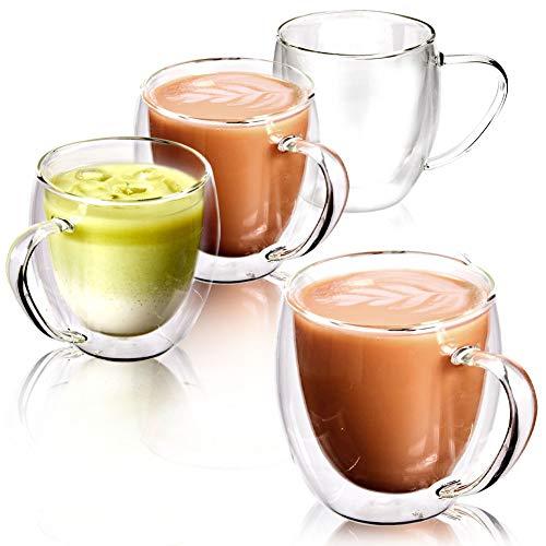 EZOWare Dubbelwandige glazen koffiemokken set, geïsoleerde thermoglazen van helder glas met handgrepen voor warme of…