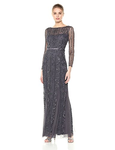 Adrianna Papell Women's Beaded Long Dress, Gunmetal, 10