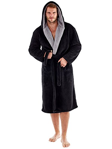 1b20e465ca Men s Harvey James Soft Fleece Hooded Robe 260gsm Contrast Lining   Amazon.co.uk  Clothing