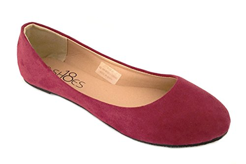 - Womens Ballerina Ballet Faux Suede Flat Shoes 3 Colors (9, 8600 Maroon Micro)
