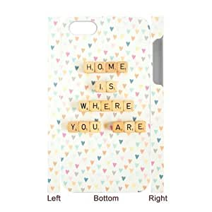 DIY Phone Case with Hard Shell Protection for Iphone 4,4S 3D case with home is where lxa#895712