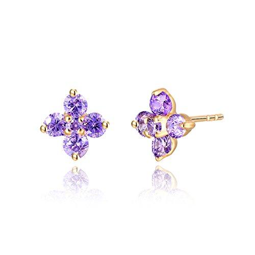 Gram 18k Box (Windshow 18K Yellow Gold Plated 4 Petal Flower CZ Piercing Stud Earrings for Children Girls Kids (Purple))