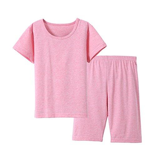 Y·J Back home Girls Pajamas Kids Shorts Set Organic Cotton Pijama Clothes Baby Pyjama Clothing Summer Pjs Child Short Sleeve Sleepwear Solid t-Shirt Pants,Pink, 8/9 Years Old (Cotton Clothing Organic Childrens)