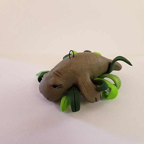 MANATEE CHRISTMAS ORNAMENT Handmade Polymer Clay OOAK Whimsical little sea cow frolicking in seaweed ()