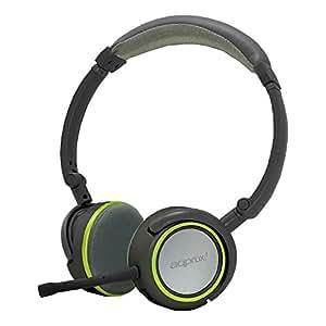 Approx APPHS05GP Auriculares stereo Hi-Fi Multimedia con micrófono desmontable, negro y verde