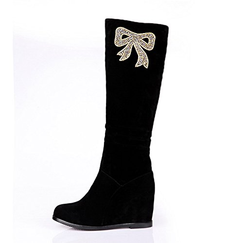 Frost Heighten Round 5 PU Womens Inside Suede Closed US Solid AmoonyFashion Heels M High Imitated with 5 Boots Toe Black B EOC01xWwWq