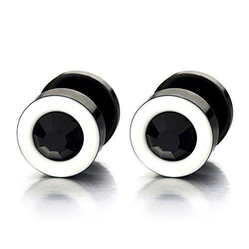 2 Blanco Negro Enchufe Falso Fake Plug, Pendientes de Hombre Mujer, Aretes, Acero Inoxidable, con Negro Circonita 6MM: Amazon.es: Joyería
