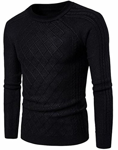 Black Crewneck Knit Mens Sweater Color Twist TTYLLMAO Cable Solid Casual gzwqwSfI