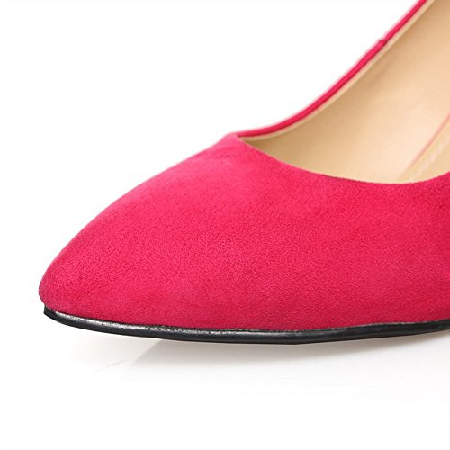AllhqFashion Womens High Heels Solid Pull-OnPointed Closed Toe Pumps Shoes RoseRed 7n1LLc