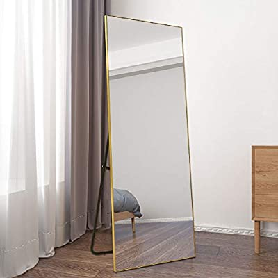 "BOLEN Dressing Mirror Full Length Mirror Standing Hanging or Leaning Against Wall Mirror Aluminum Alloy Frame Mirror 65… - 【 ALUMINUM ALLOY FRAME 】Very thin aluminum alloy frame (only 0.15""wide ,0.55""thick), does not change color, has no odor, and more environmentally friendly.3 available colors: Black,Gold and Silver. 【 2 WAYS INSTALLTION 】This dressing mirror is extremely versatile,it can be wall-mounted with the gourd hooks on the back, disassemble the bracket first by removing a few screws, quite easy,then hang it to the wall, or it can be supported by a U-shaped bracket and placed on the floor . 【 FULL LENGH SIZE 】The full size is 65""x 22"",providing all viewing angles in one, enough large for you to see your entire figure in a single glance.The weight of mirror is 22lbs, too heavy, so we don't recommend hanging on the door . - mirrors-bedroom-decor, bedroom-decor, bedroom - 41MNojjqoaL. SS400  -"
