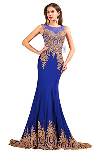 ORIENT BRIDE Women's Mermaid Evening Dresses Crystal Prom Gown Size 8 US Blue