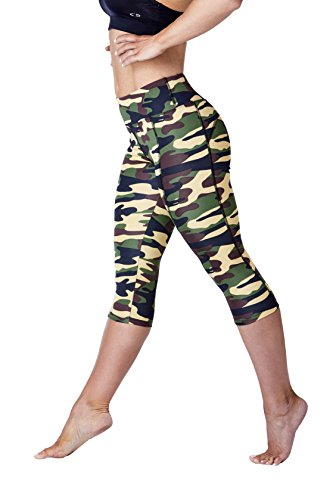 WEST ZERO TWO Womens Capris High Waisted Tummy Control Capri Leggings with Back Zip Pocket and Side Phone Pocket(Large, Brown Camo Capri)